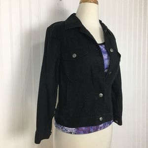 Laure RL embroidered black button up jean jacket S